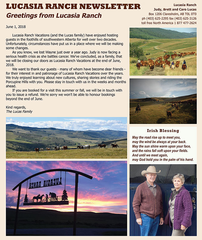 Lucasia Ranch newsletter spring 2018