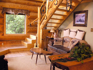 Hand-crafted log guest cabin on working ranch